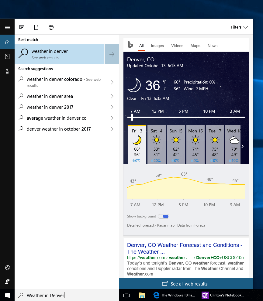 Cortana In-Windows Search Results