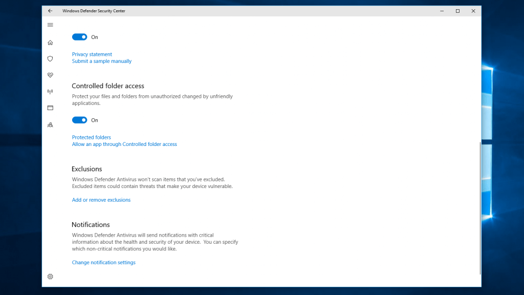 Folder Access Controls in Windows Defender