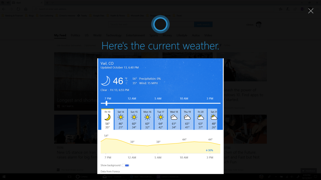 Full Screen Cortana Results