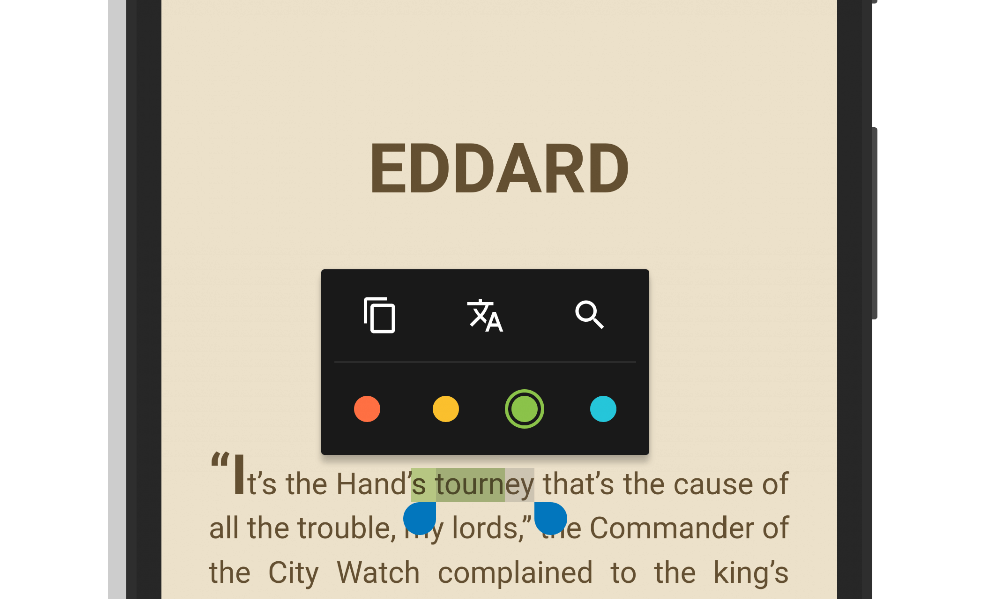 Google Play Books Text Highlighting