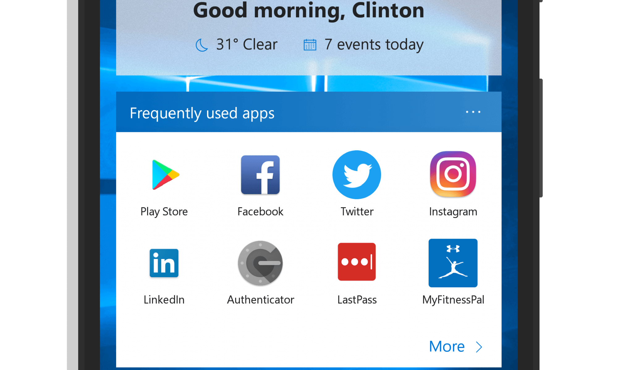 Utility Page in Microsoft Launcher