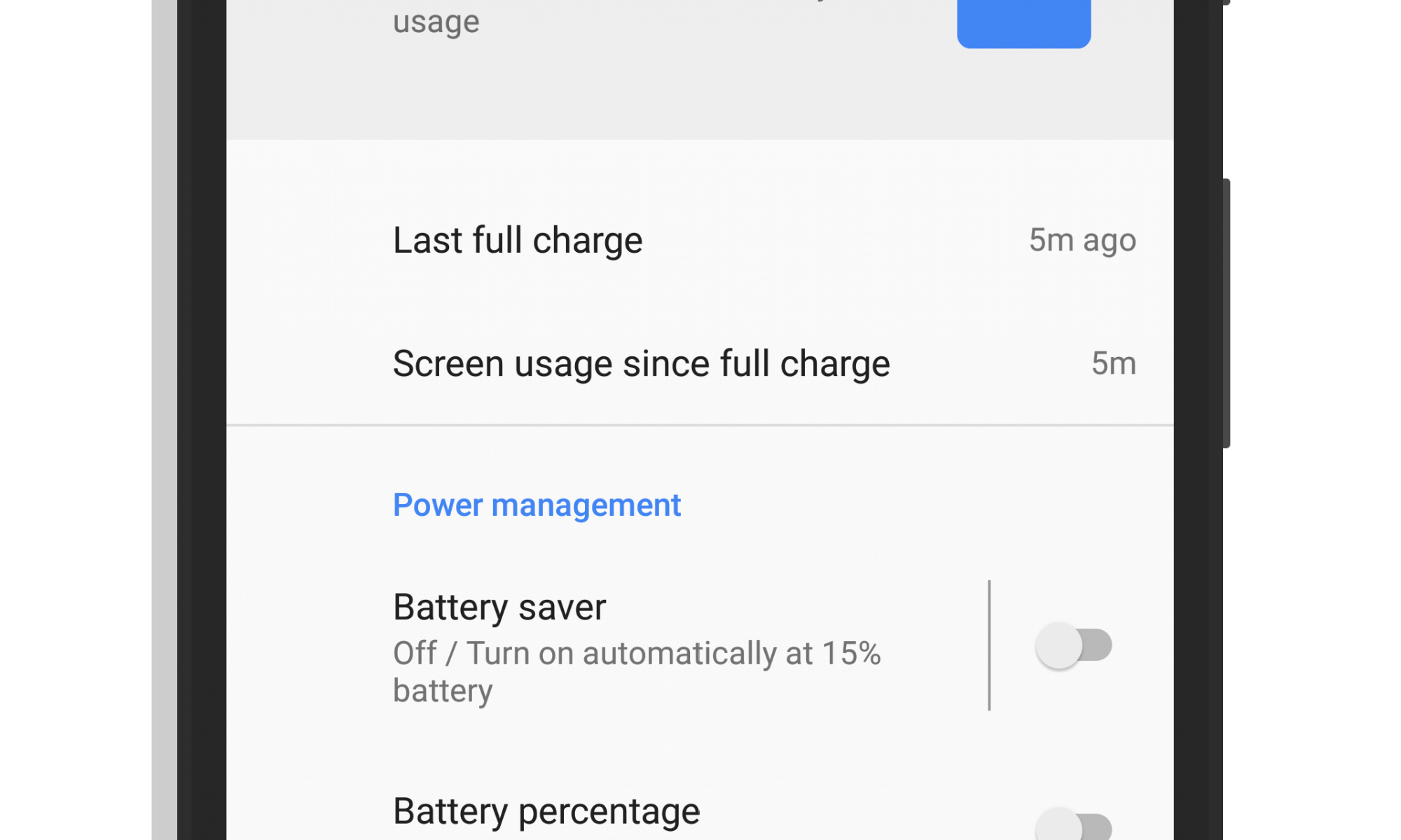 Battery Life Settings on Google Pixel