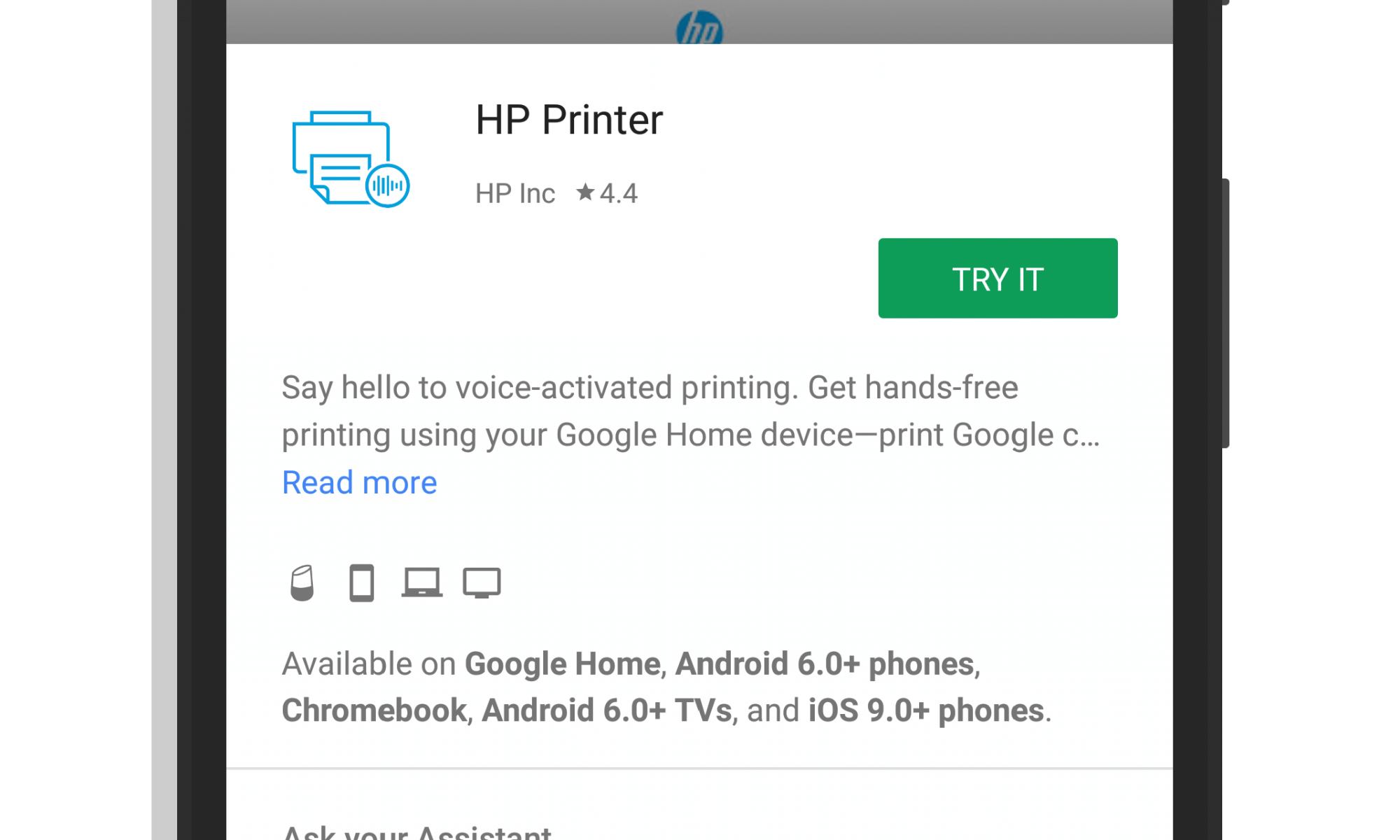 HP Printing from Google Assistant