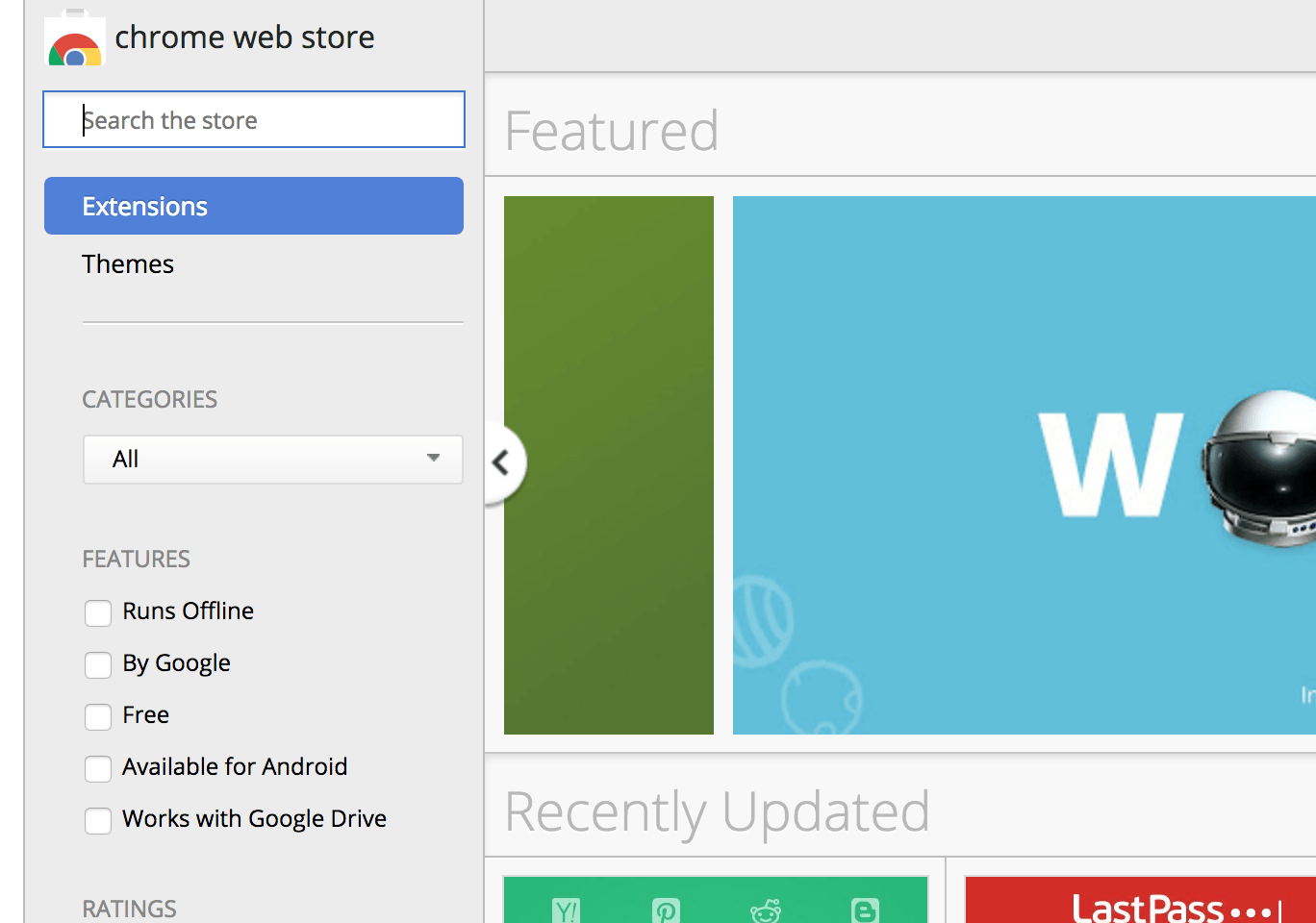 Chrome Web Store Minus Apps