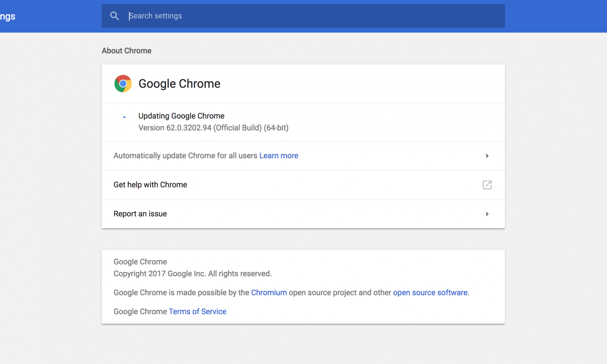 Chrome for Desktop Update