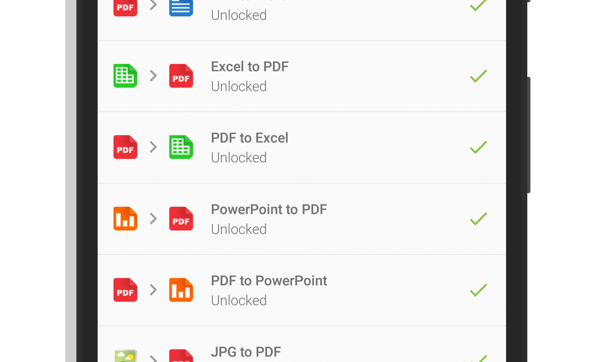 List of Conversions Available in PDF Converter