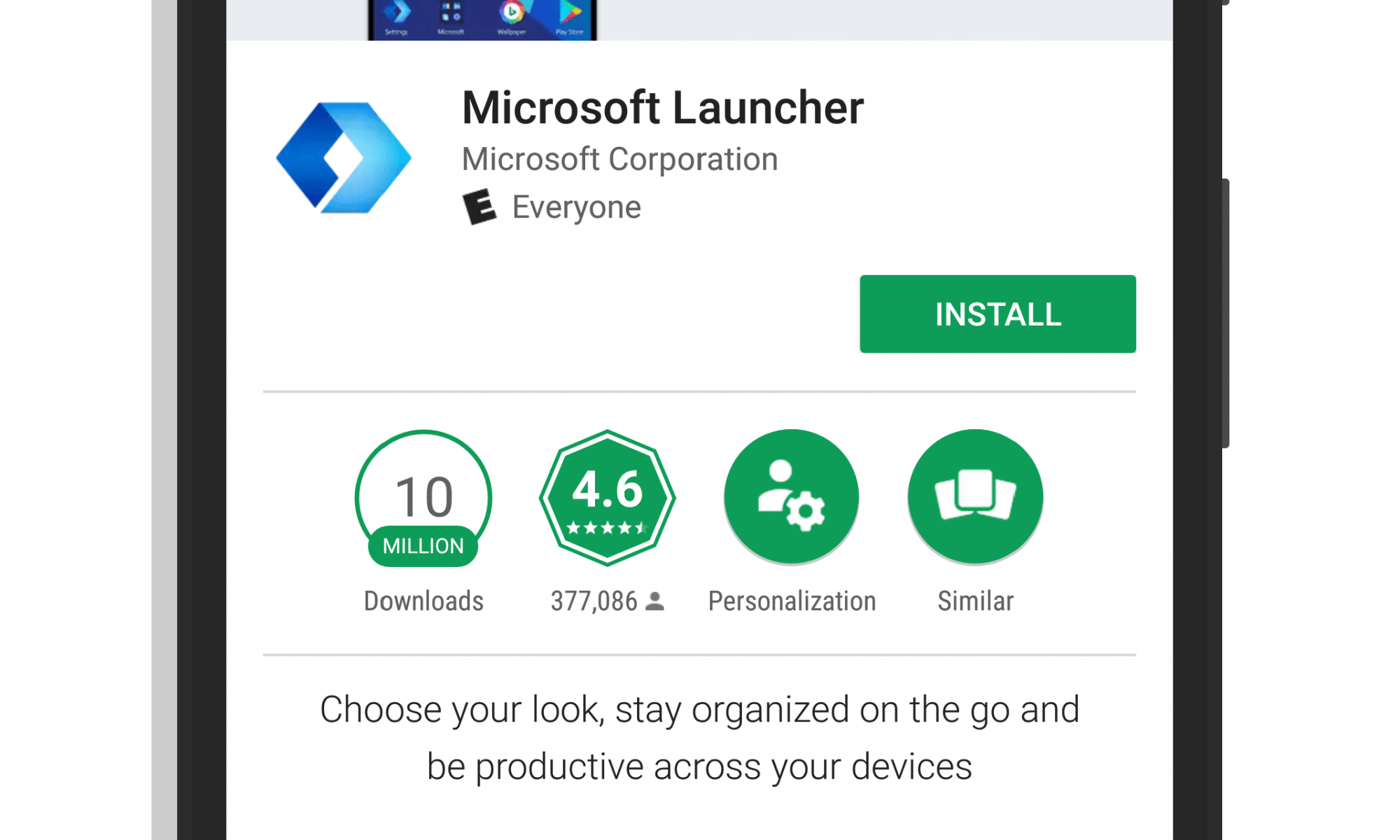 Microsoft Launcher in Google Play Store