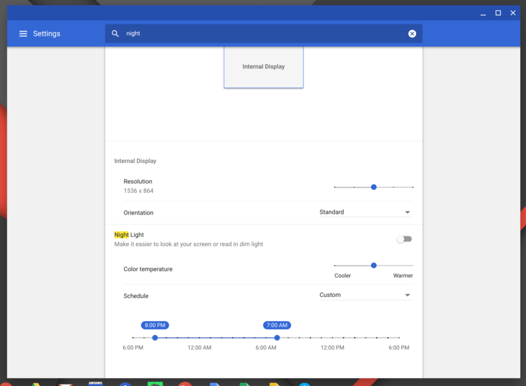 Night Light Settings in Chrome OS