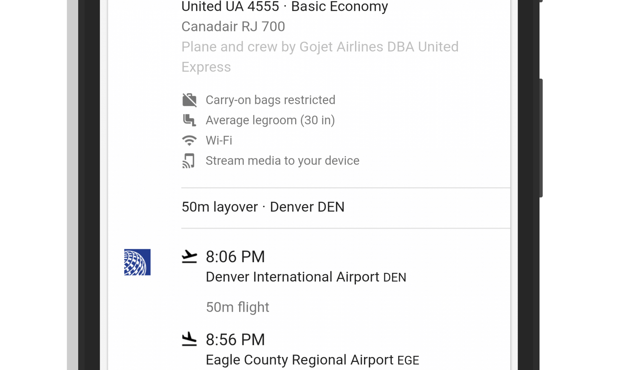 Basic Economy in Google Flights