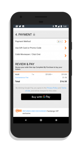 Fandango App Supporting Google Pay