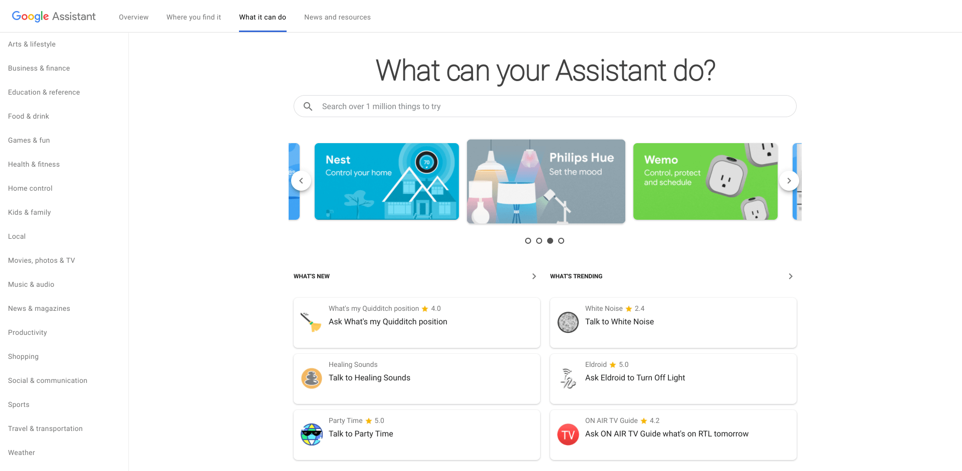 Google Assistant Actions Directory