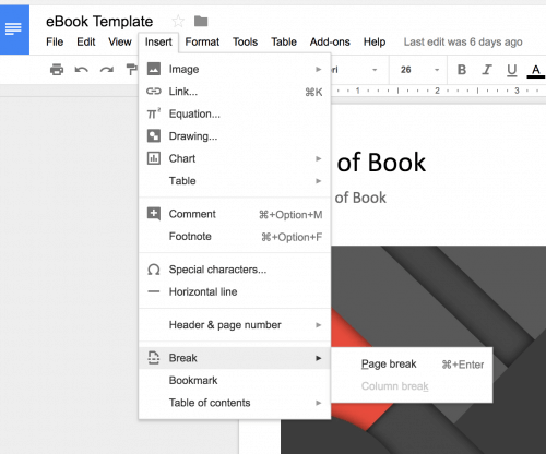 Google Docs New Break Menu