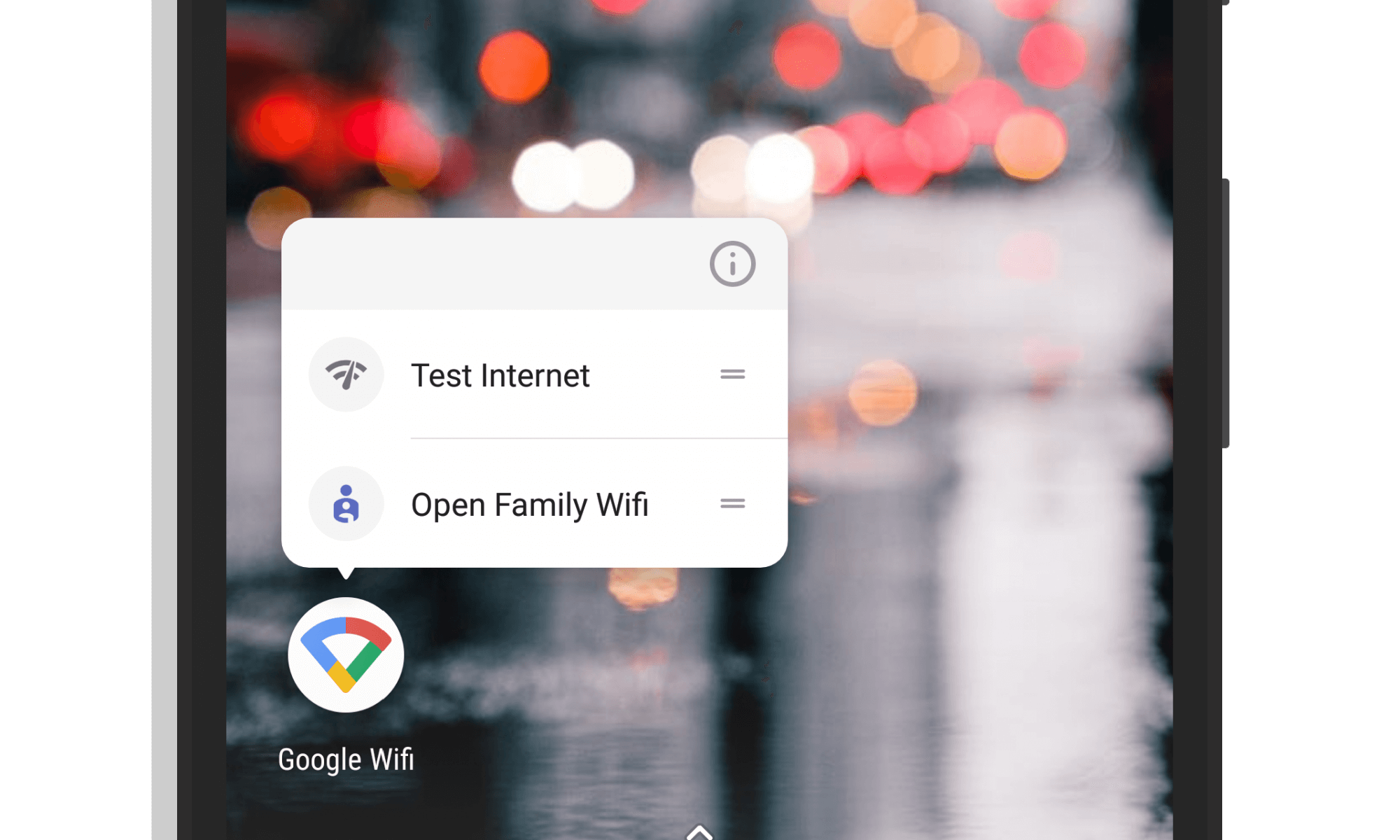 App Shortcuts in Google WiFi