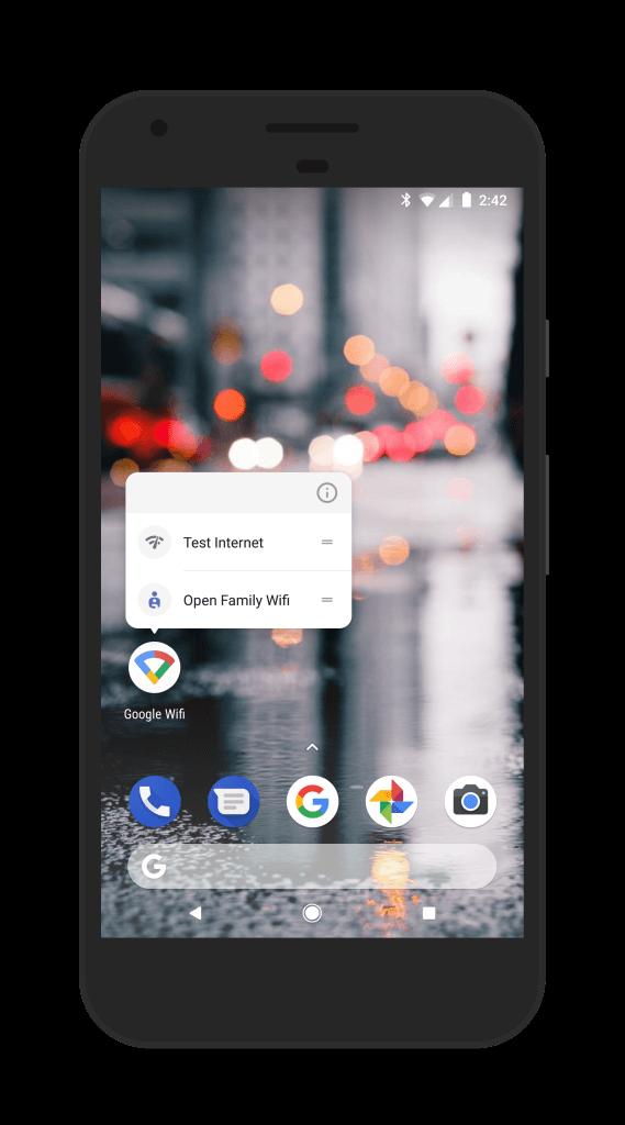 App Shortcuts in Google WiFi