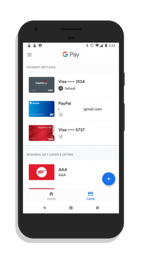 Google Pay Cards Page