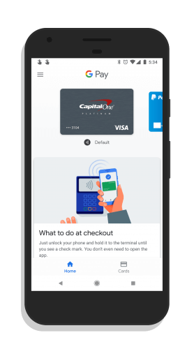 Google Pay Home Screen