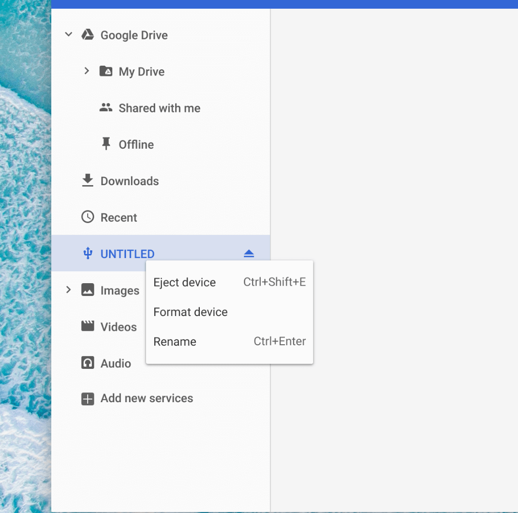 Renaming of External Drives in Chrome OS