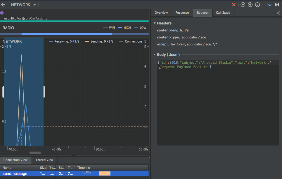 Android Studio Network Profiler