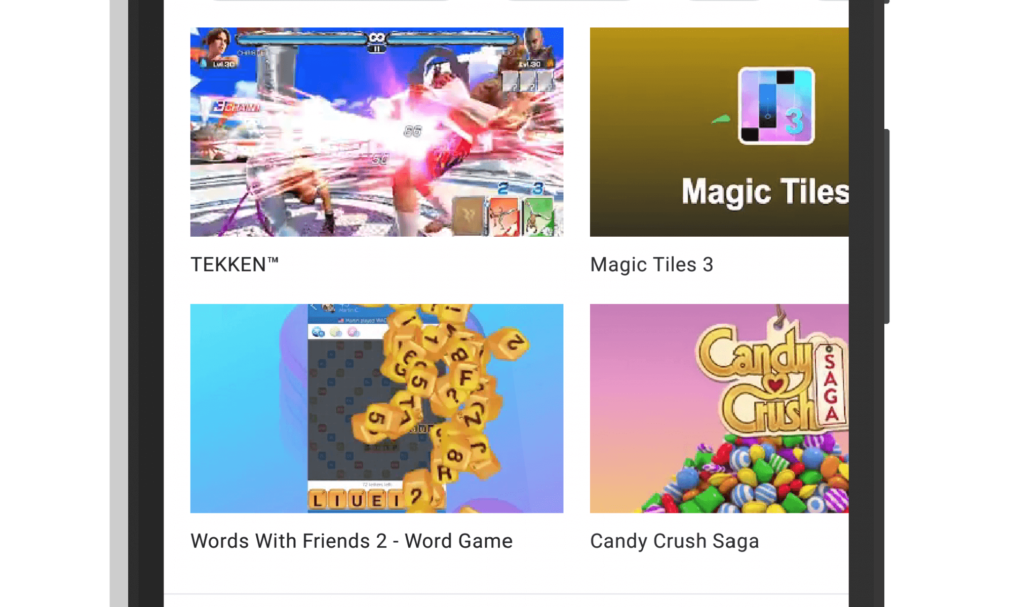 Arcade Tab in Google Play Games