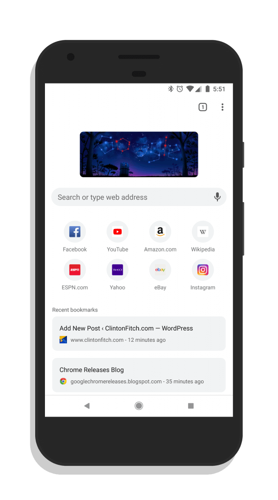 Chrome for Android Beta Modern UI