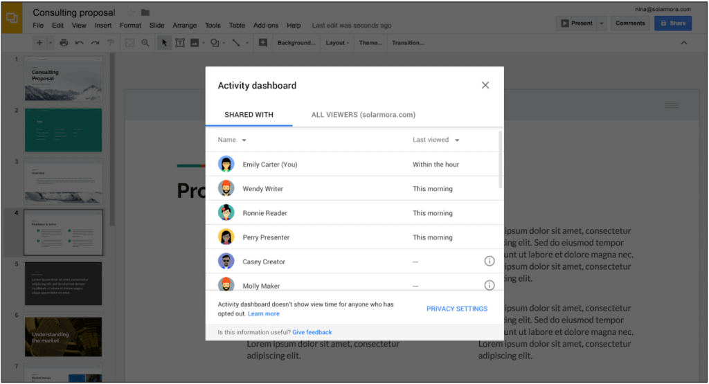 G Suite Activity Dashboard