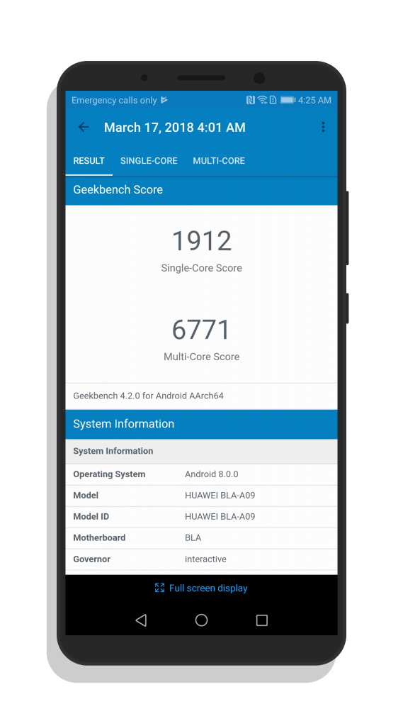 GeekBench 4 Test Results