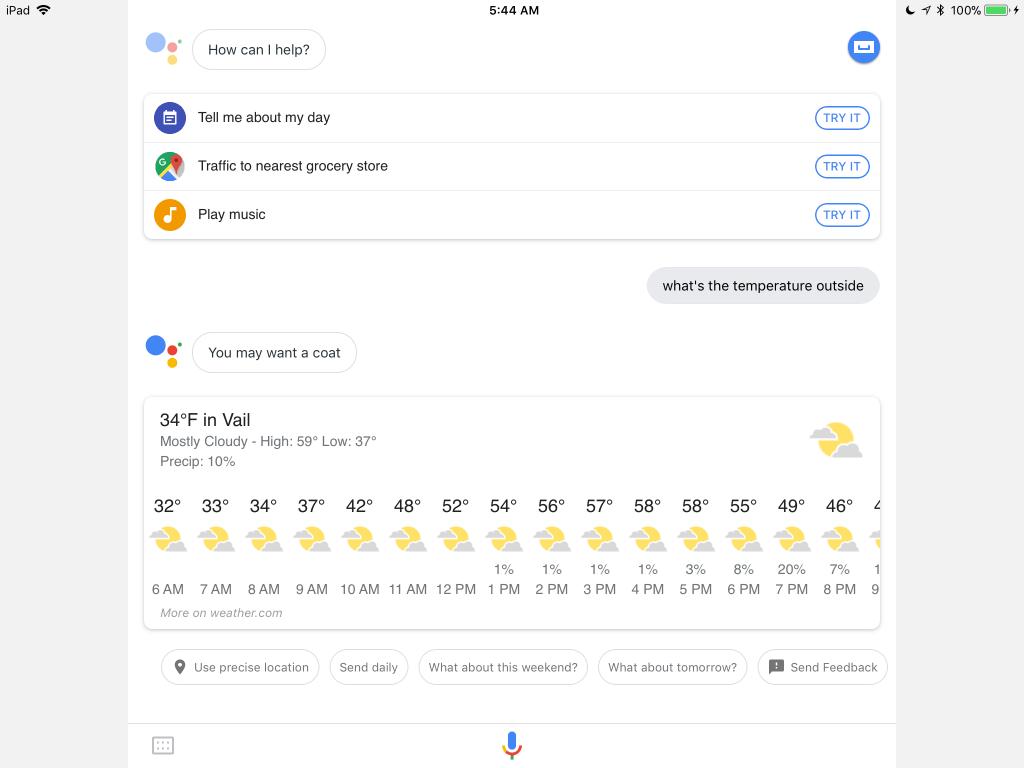 Google Assistant on iPad