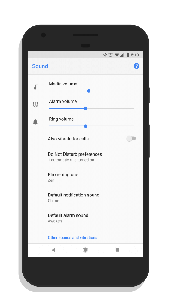 Google Phone v18 Sound Settings Page