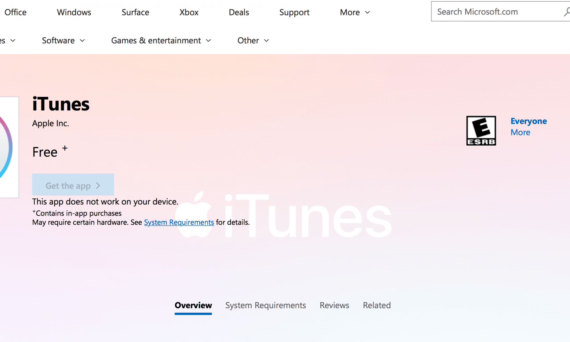 Apple iTunes in The Microsoft Store