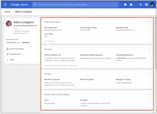Google Admin Card View