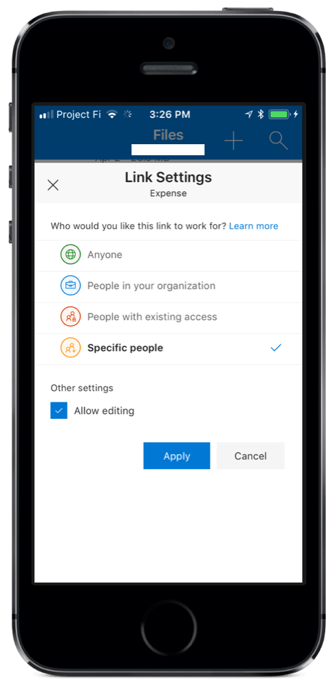 OneDrive for iOS Sharing
