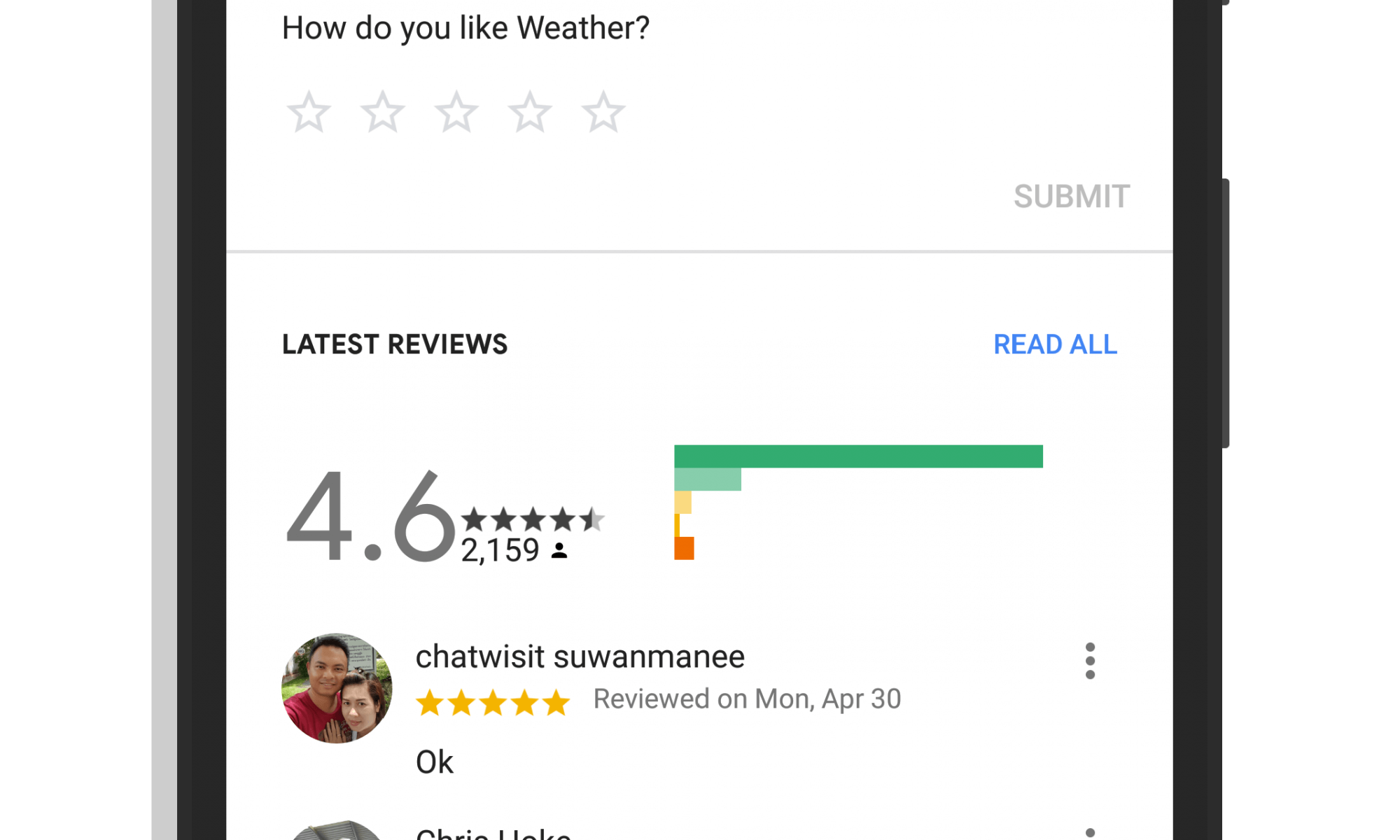 Rating of Services in Google Assistant