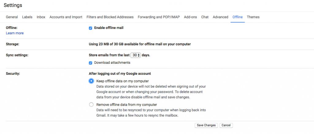 Gmail Offline Settings