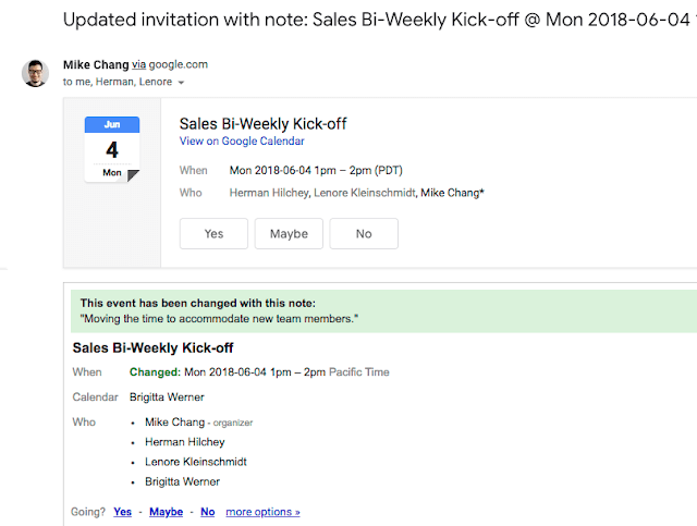 Google Calendar Updated Invite with Notes
