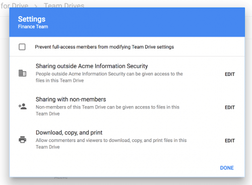 Google Team Drive Security Settings for Sharing Content