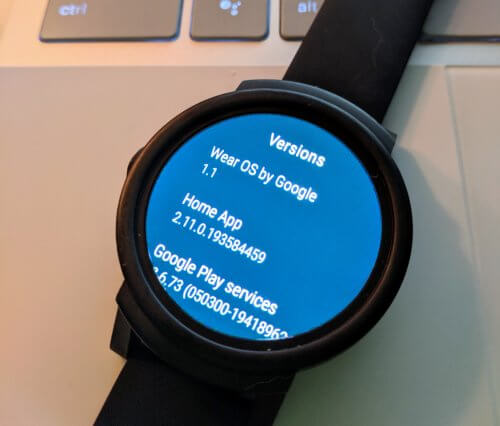 Wear OS version 1.1 on Mobvoi Ticwatch E