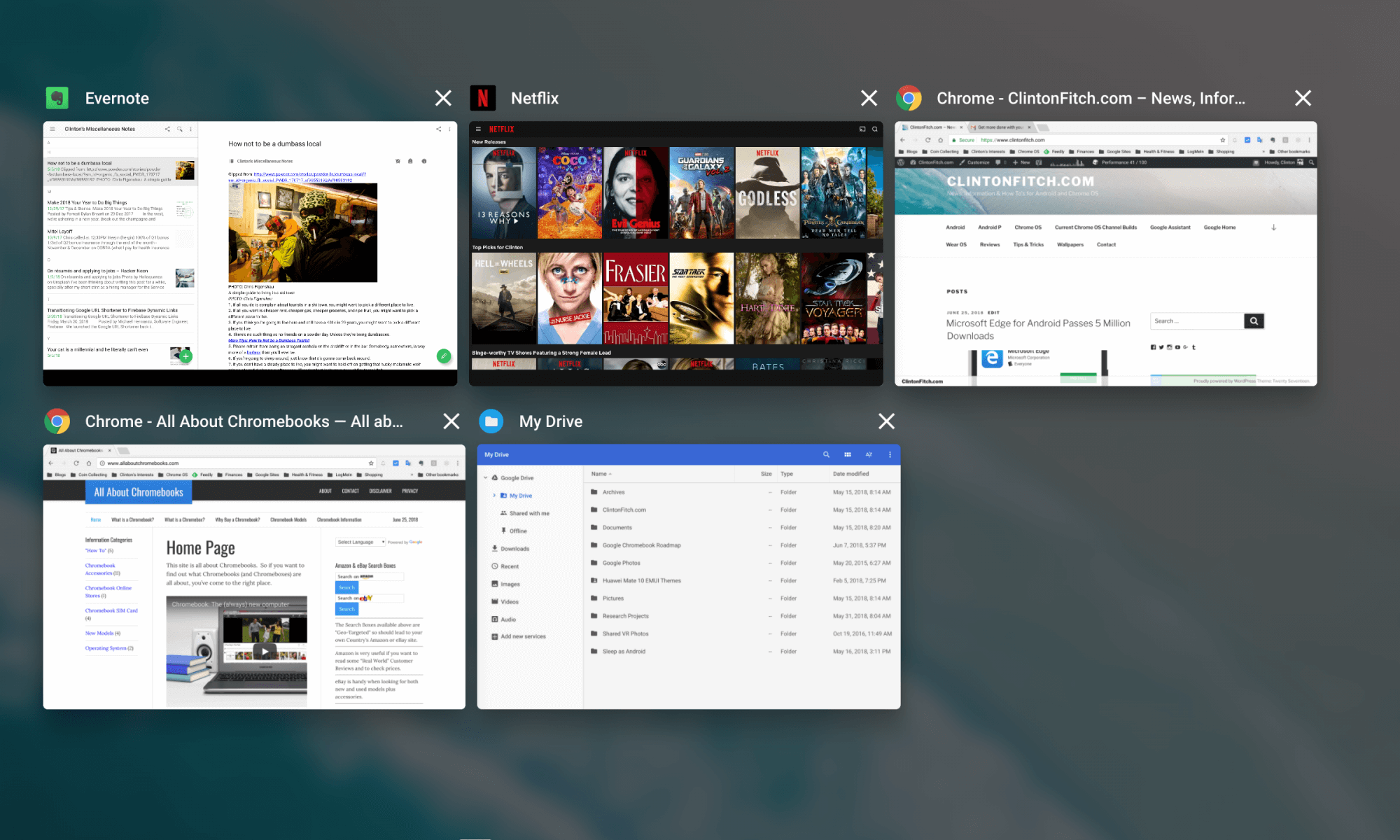 All Open Windows View in Chrome OS