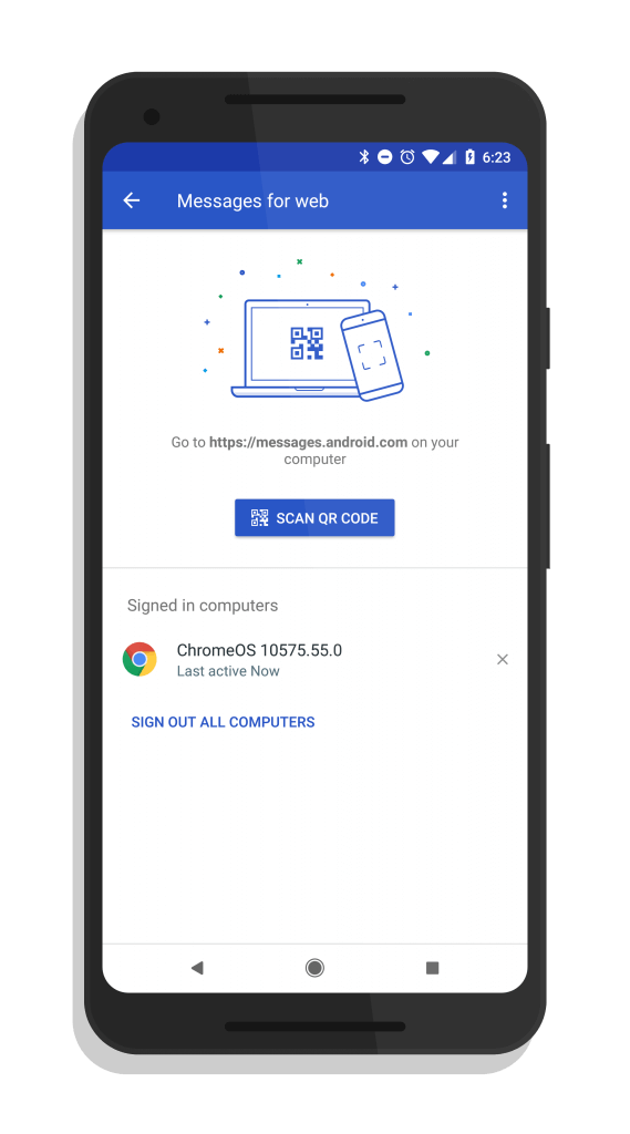 Android Messages QR Scanner Setup