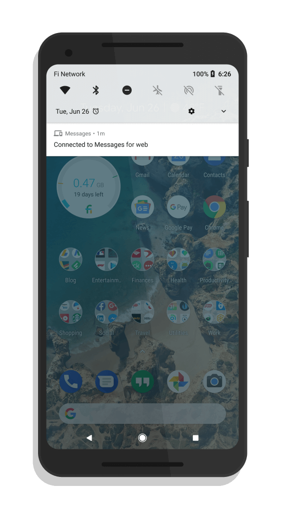 Android Messages on Web Notification Shade