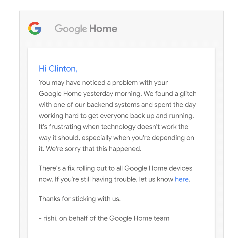 Google Home Apology Email