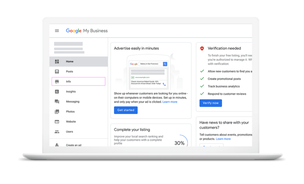 Google My Business Admin Panel
