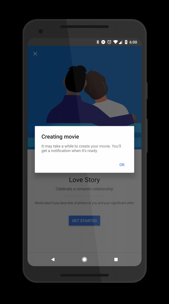 Google Photos Love Story Created Pop Up