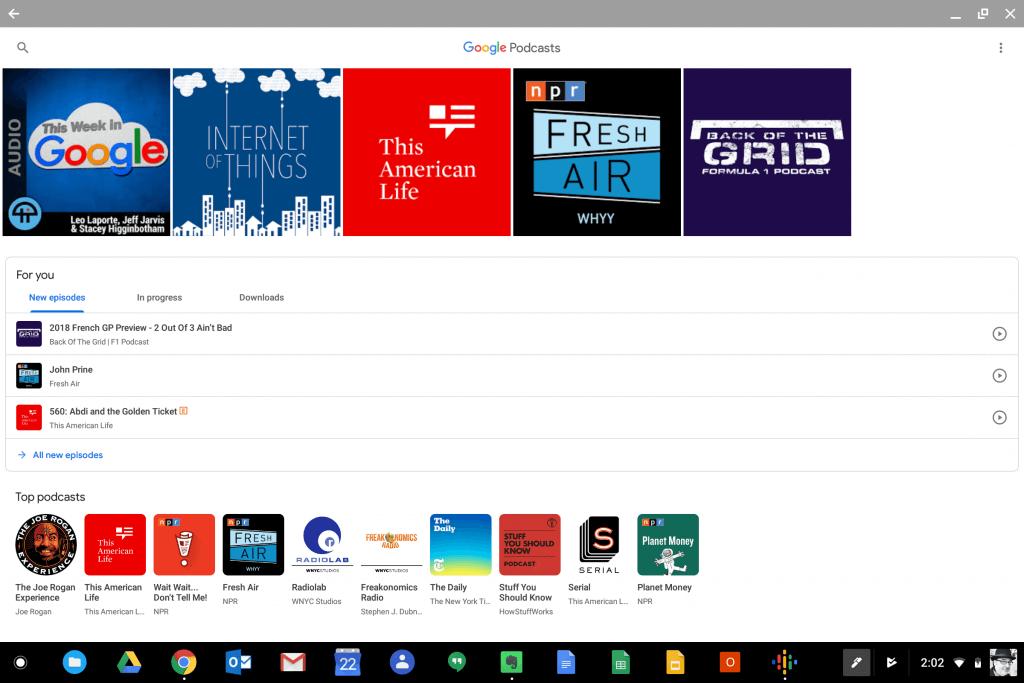 Google Podcasts on Chrome OS