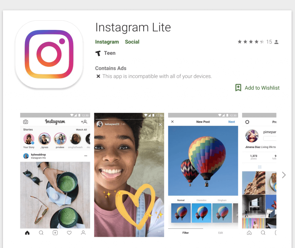 Instagram Lite in the Google Play Store
