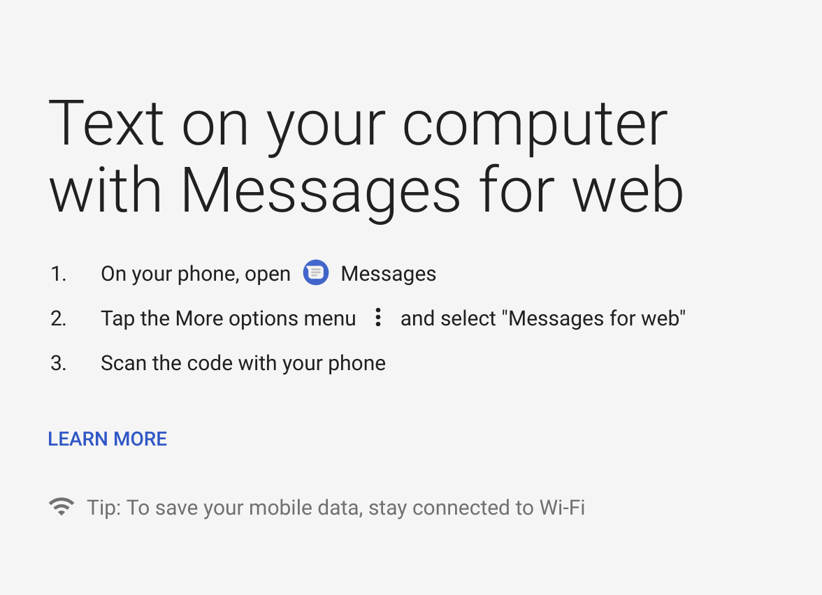 Messages for Web Instructions
