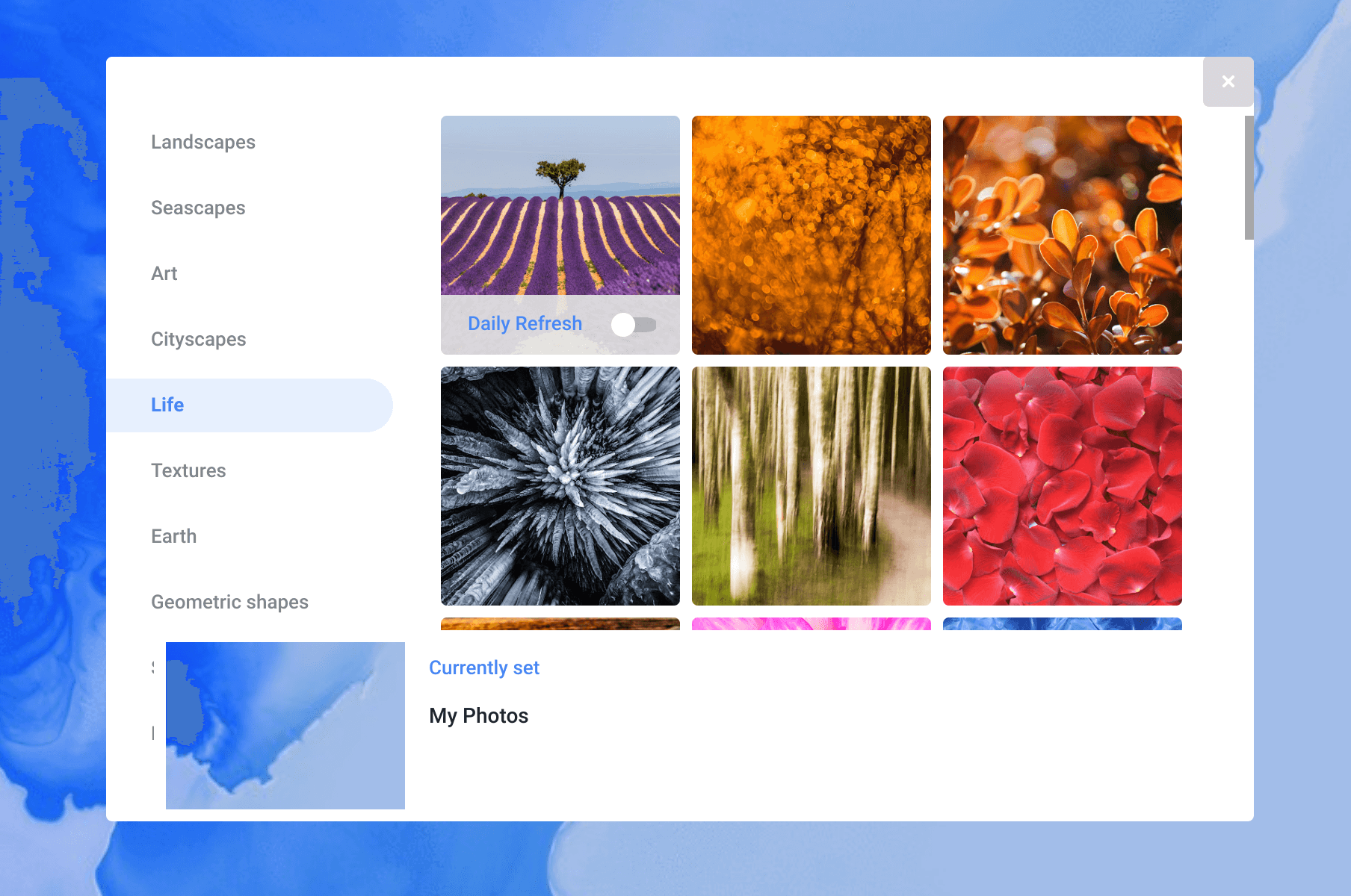 New Wallpaper Picker in Chrome OS