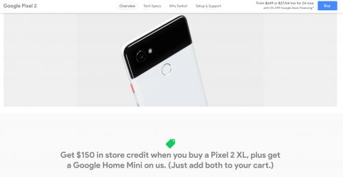 Pixel 2 XL $150 Promotion