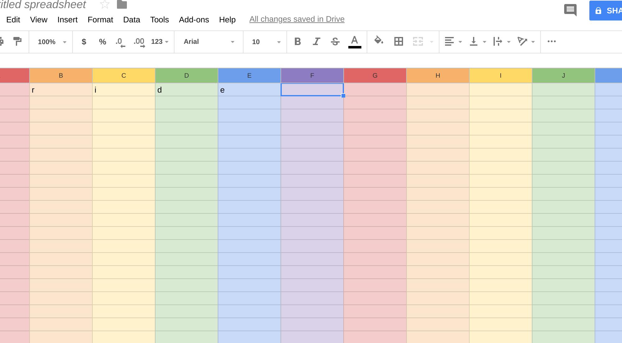 Pride Easter Egg in Google Sheets