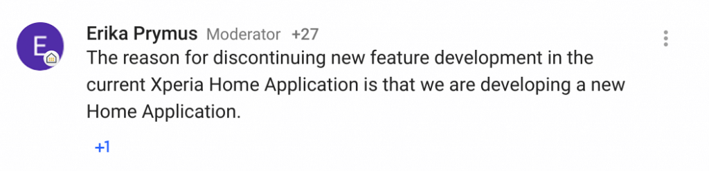Sony Comment on Xperia Launcher