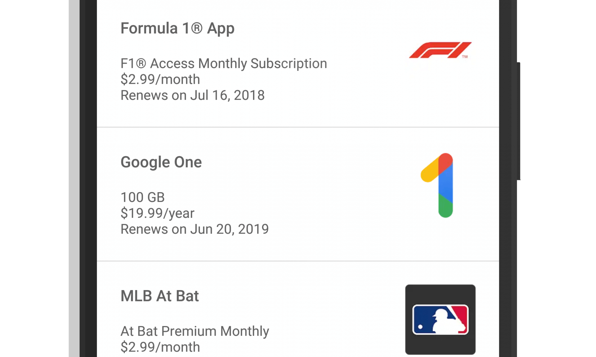 Subscriptions Page in The Google Play Store